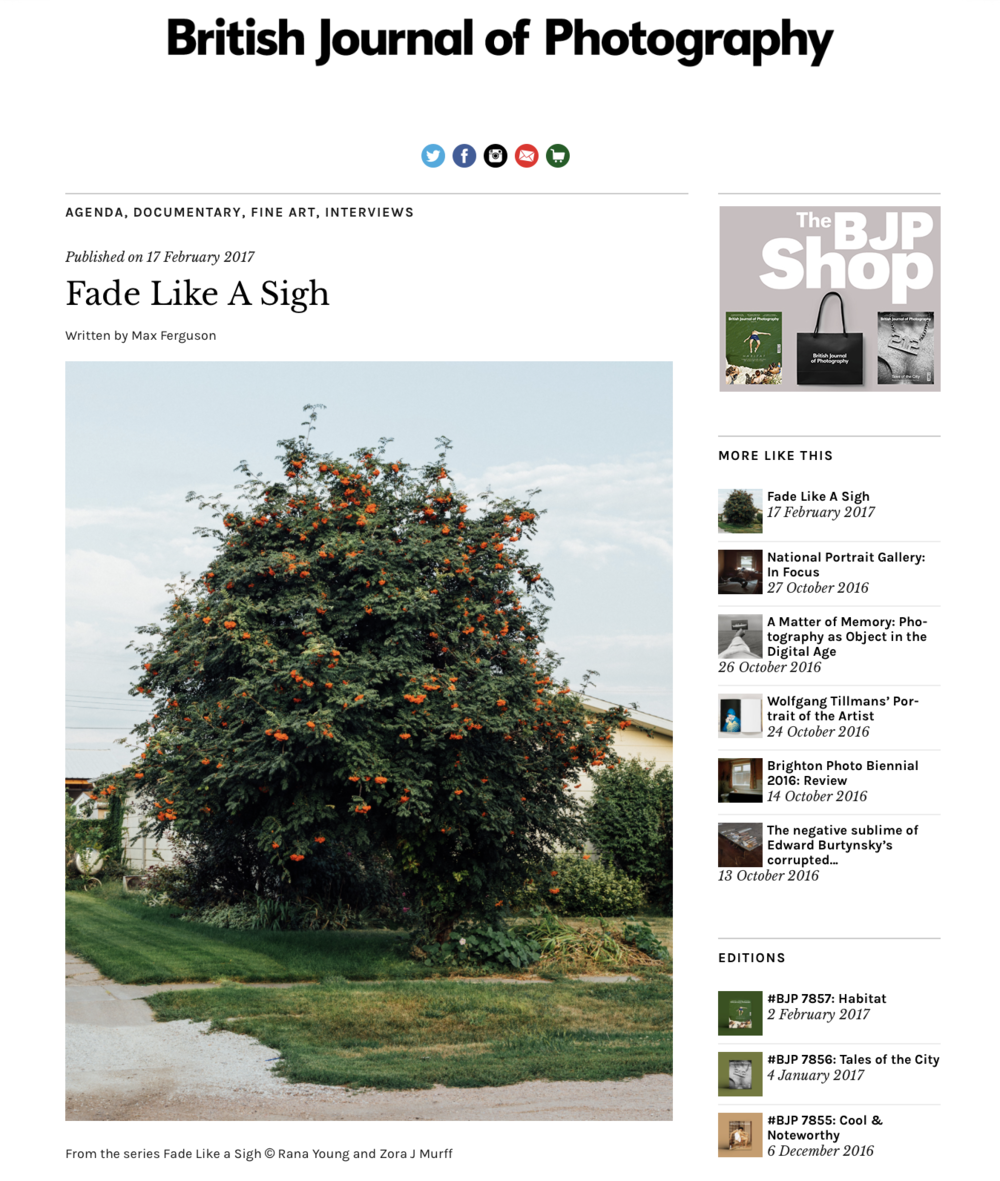 Zora J Murff and I are thrilled to have been interviewed by Max Ferguson about our collaborative sereies Fade Like a Sigh for British Journal of Photography. Take a peek here.