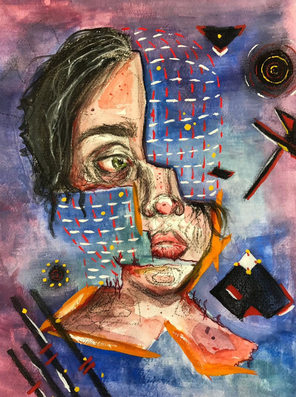 Assignment: Self-portrait  Mixed-media on paper  Fall 2017