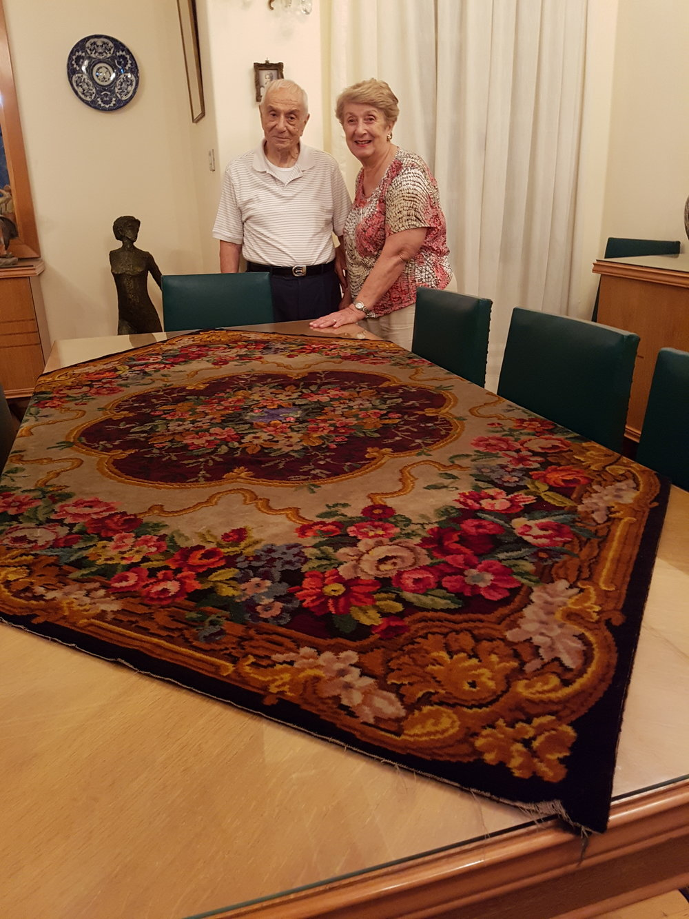 Christine and Stepan Varvarian talking about Christine's grandmother's carpet brought in 1905 from Istanbul  (3).jpg