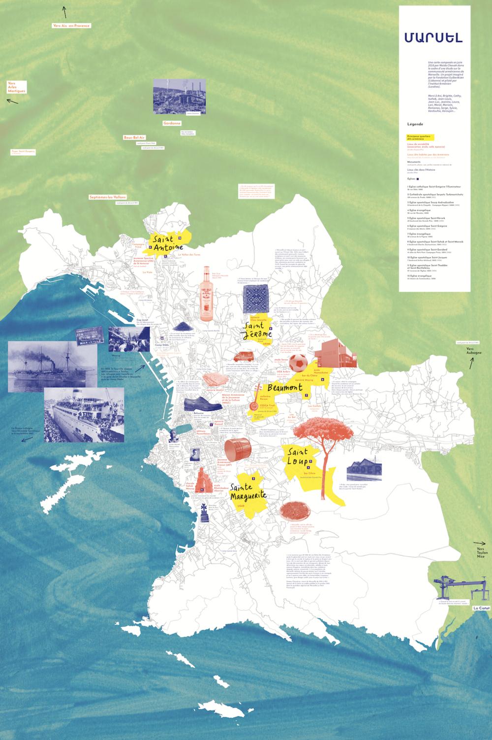 "Carte sensible de la présence arménienne à Marseille "" and in English.  A map showing the continuing Armenian presence in Marseille."