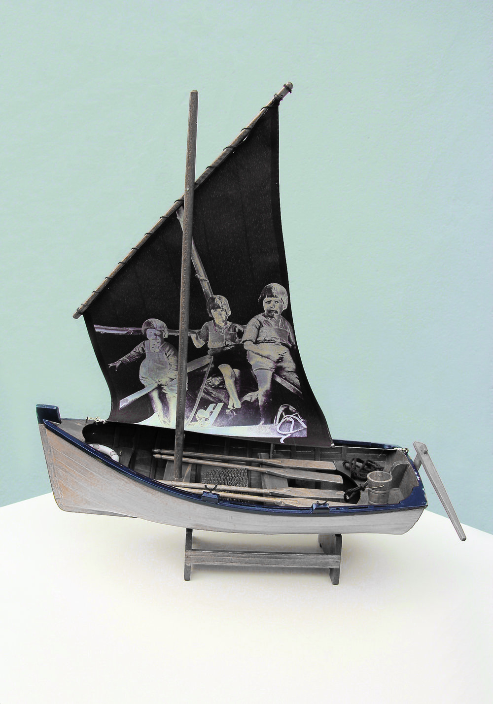 Karen Babayan, Here are the Swallows!,model boat with digital print 2017