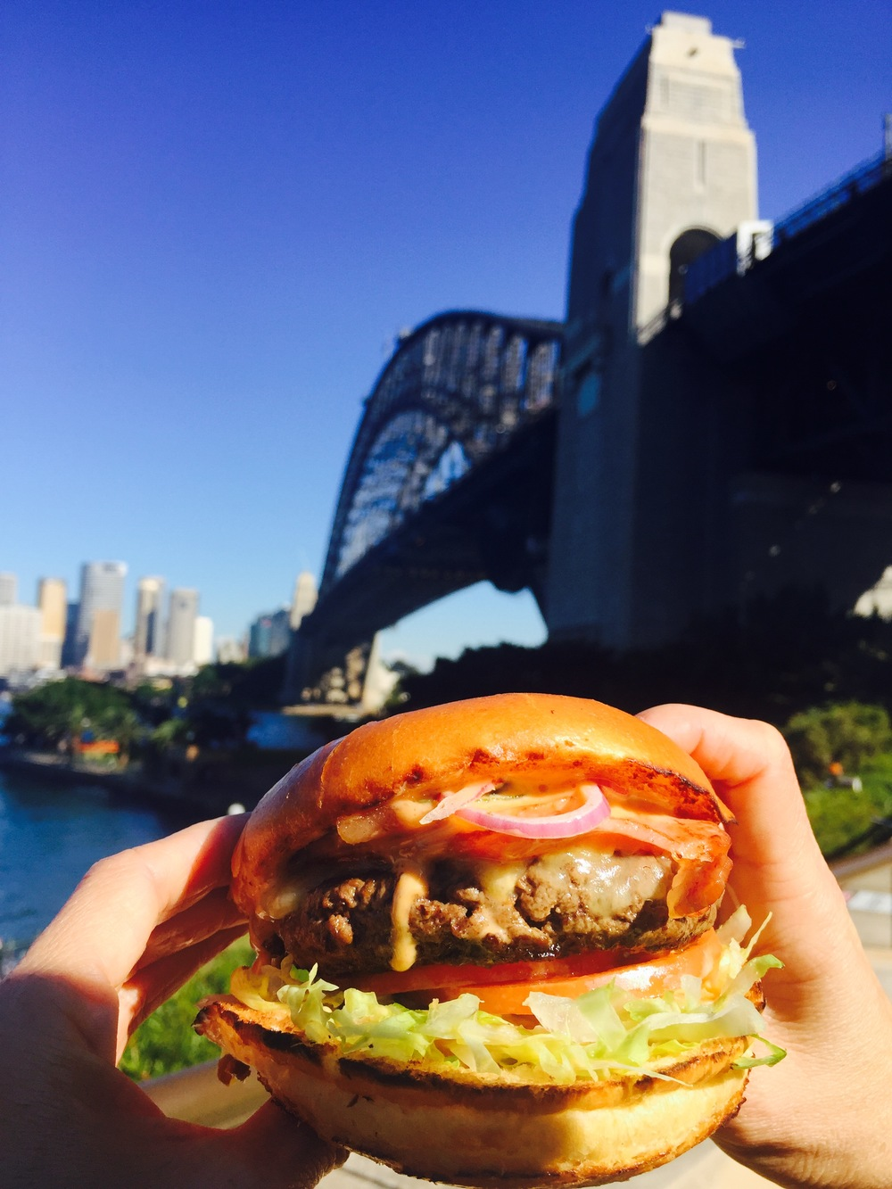 New Yorker Burger by the Harbour Bridge