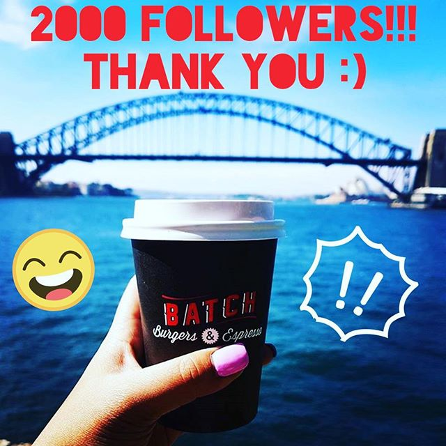 Thank you to all our lovely followers 😆🍔🍔🍔🍔👍 #shake #sydneyharbour #sydneyharbourbridge #harbourbridge #sydneyblogger #sydneyfood #sydneyscene #sydneyfoodie #burger  #batch #batchburgerandespresso #lunapark #milkshake #batchburgersandespresso #burgersbythebridge #batchburger #urbanlistsyd #batchburgers #menu #newmenu #kirribilli #urbanfoodreview #hotdog #burgersandfries #burgers