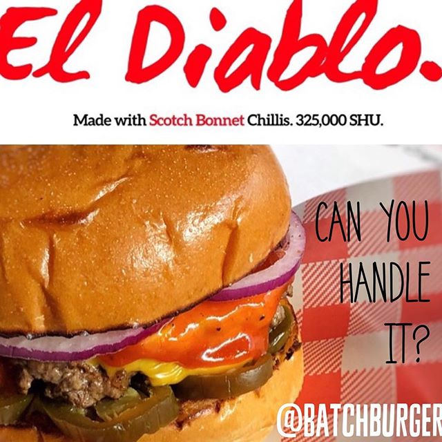 The limited edition El Diablo. THE HOTTEST BURGER we have ever created. The sauce has been hand crafted using SCOTCH BONNET CHILLIS that register at 325,000 SHU on the Scoville Scale! That's 140 times hotter than a jalapeño 😮🌶🔥 If you like hot food you have to try this. It's DELICIOUS! #scotchbonnet #scovillescale #chilli  #sydneyfood #sydneyscene #sydneyfoodie #burger  #batch #batchburgerandespresso #lunapark #milkshake #batchburgersandespresso #burgersbythebridge #batchburger #urbanlistsyd #batchburgers #menu #newmenu #kirribilli #urbanfoodreview #hotdog #burgersandfries #eldiablo
