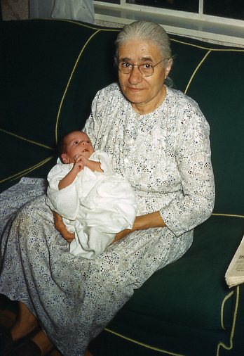 Grandma Iskouhy, a survivor of the Genocide, with one of her grandchildren.