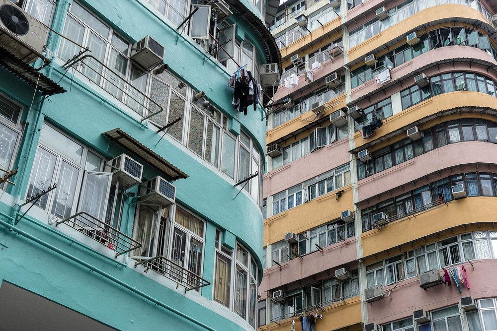 Colourful Hong Kong Apartment Blocks