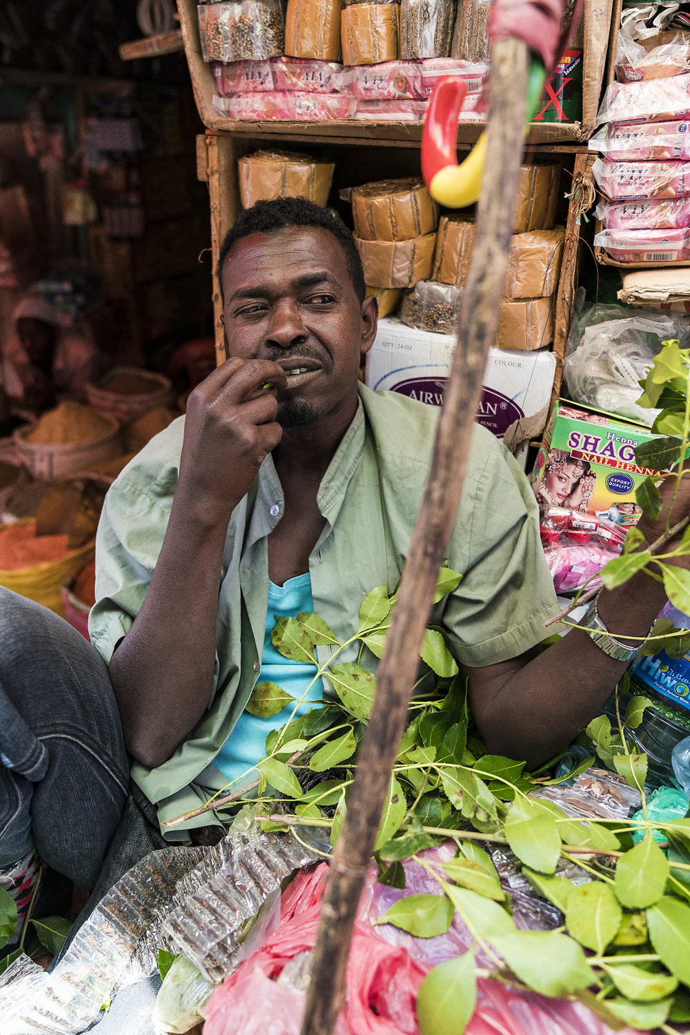 man chewing chats ethiopia