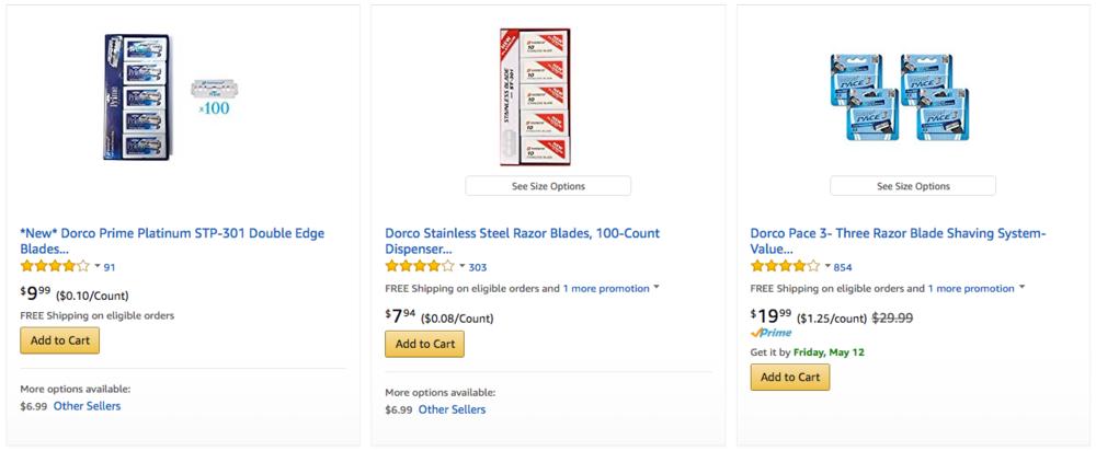 I prezzi di vendita dei rasoi Dorco negli store online