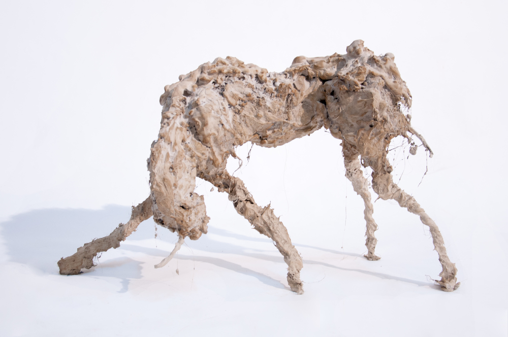 "Lionel Sabatté, ""Petite Licorne #3"", ferraille, ciment, curcuma, fibres vegetales, 2014"