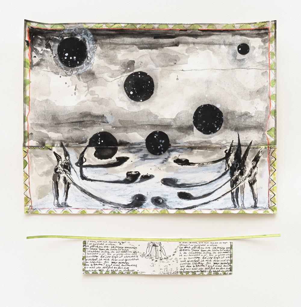 """Valérie Favre, """"Pour Cioran"""", encre de chine, aquarelle, crayons de couleurs, gouache, pastel gras, 29,5 x 29,5 cm, 2015/2016"""
