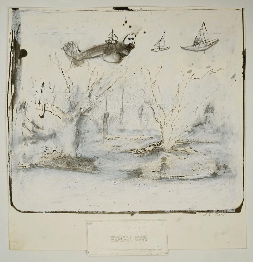 """Valérie Favre, """"Magic Wood"""", de la série """"Les Petits Théâtres de la Vie"""", encre de Chine, gouache pastel gras et sec, machine à écrie, tampon encreur sur papier, 21.5 x 21 cm, 2014"""