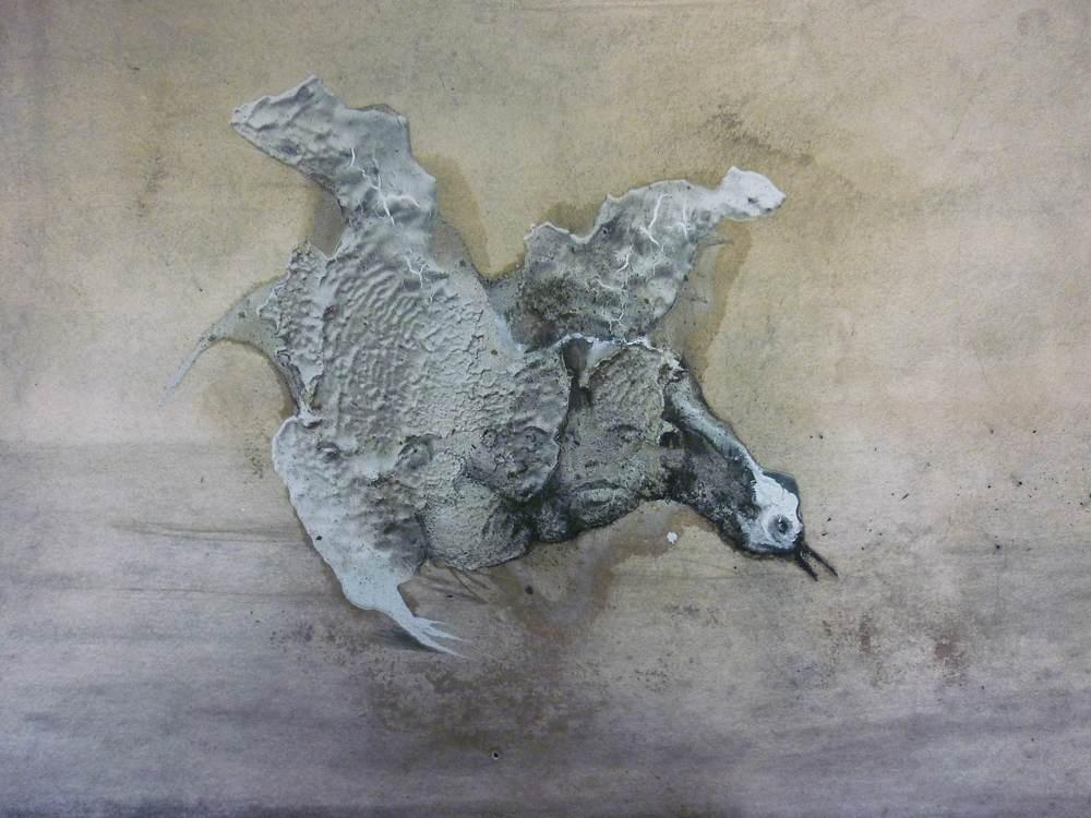"""Lionel Sabatté, """"Sans titre #1"""", béton, mine de plomb sur papier Arches, 29,7 x 21 cm, 2013"""