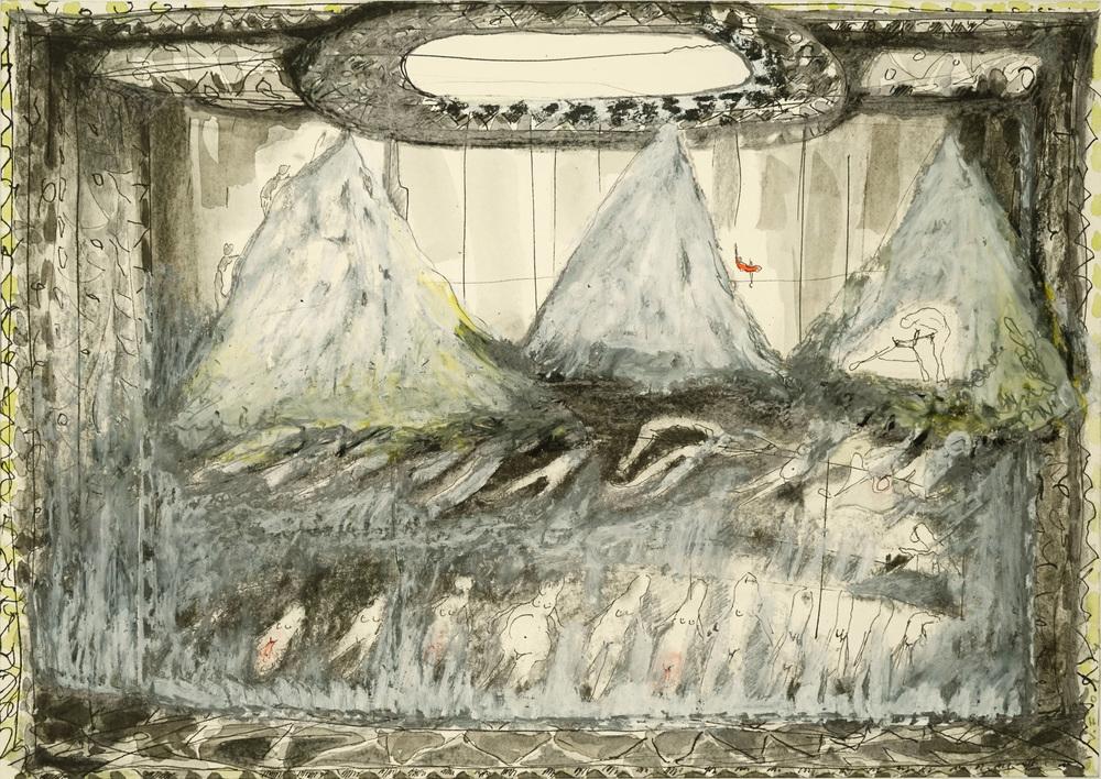 """Valérie Favre, """"Conquêtes"""", de la série """"Les Petits Théâtre de la Vie"""", encre de Chine, aquarelle, graphite, pastel gras et sec sur papier, 29,7 x 21 cm, 2014"""