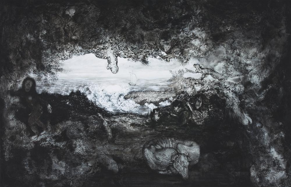 """Elisabeth Llach, """"C'est très bon de sentir d'où vient le vent en mouillant son doigt"""", acrylique et vernis sur toile, 165 x 106 cm, 2016 © Geoffrey Cottenceau"""