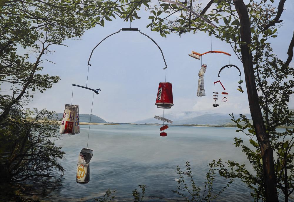 """Till Rabus, """"Mobile"""", huile sur toile, 110 x 160cm, 2016."""
