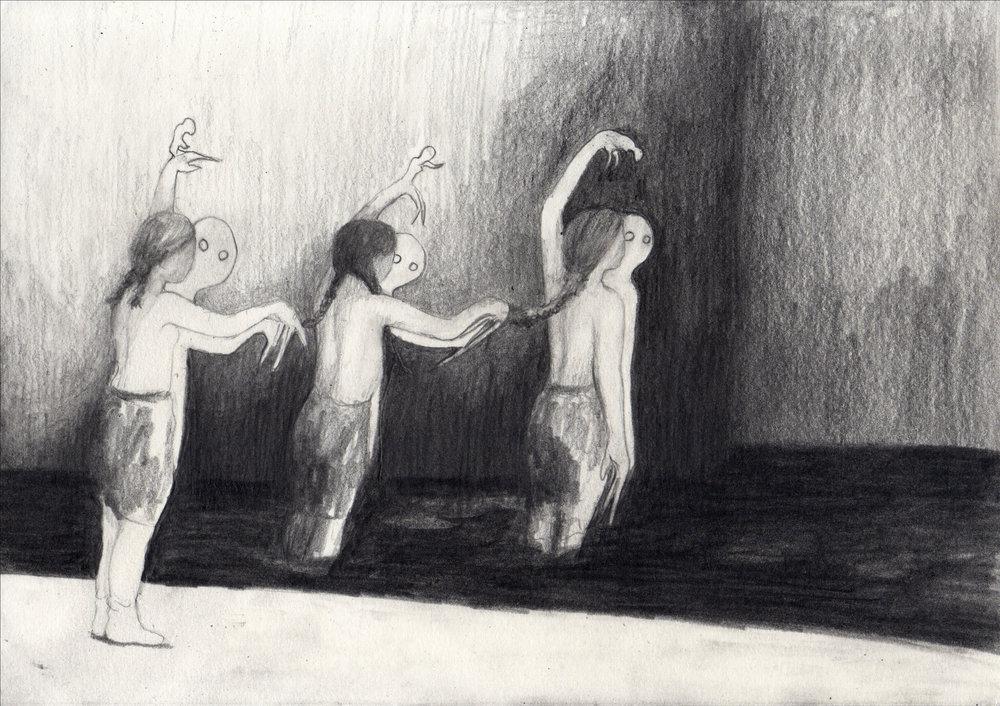 """Emeli Theander, """"Divers"""", graphite sur papier, 29,7 x 21 cm, 2016"""