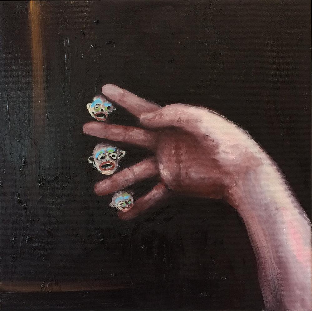 "Emeli Theander, ""Mellan mina fingrar"", huile sur toile, 30 x 30 cm, 2016"