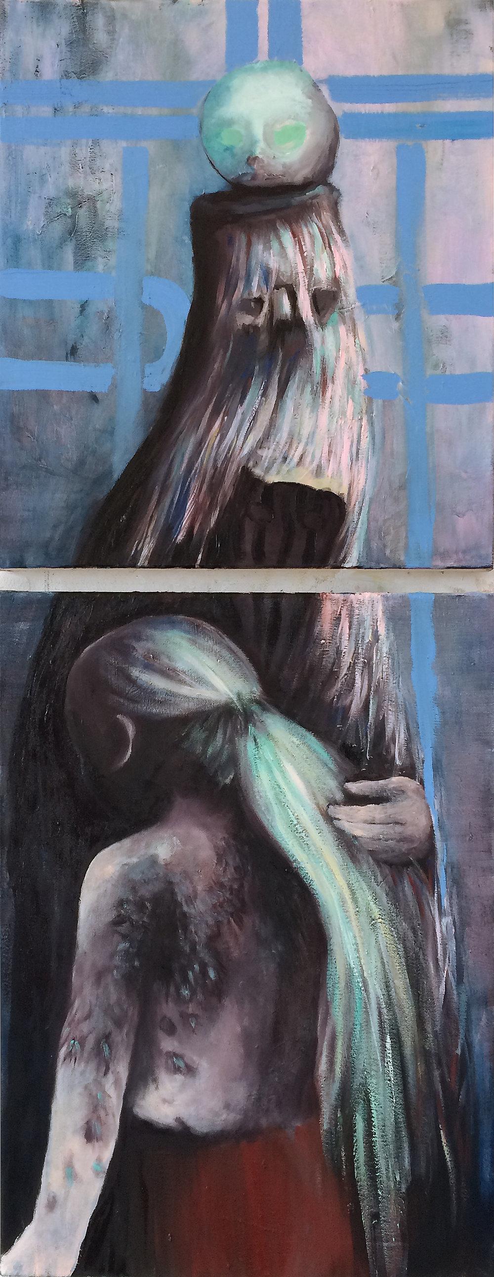 "Emeli Theander, ""Vargbarn"", huile sur toile, diptych 50 x 133 cm, 2016"