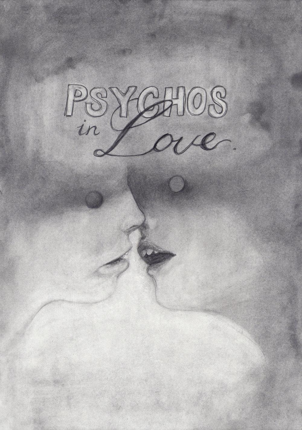 """Emeli Theander, """"Psychos in Love"""", graphite sur papier, 29,7 x 42 cm, 2016"""