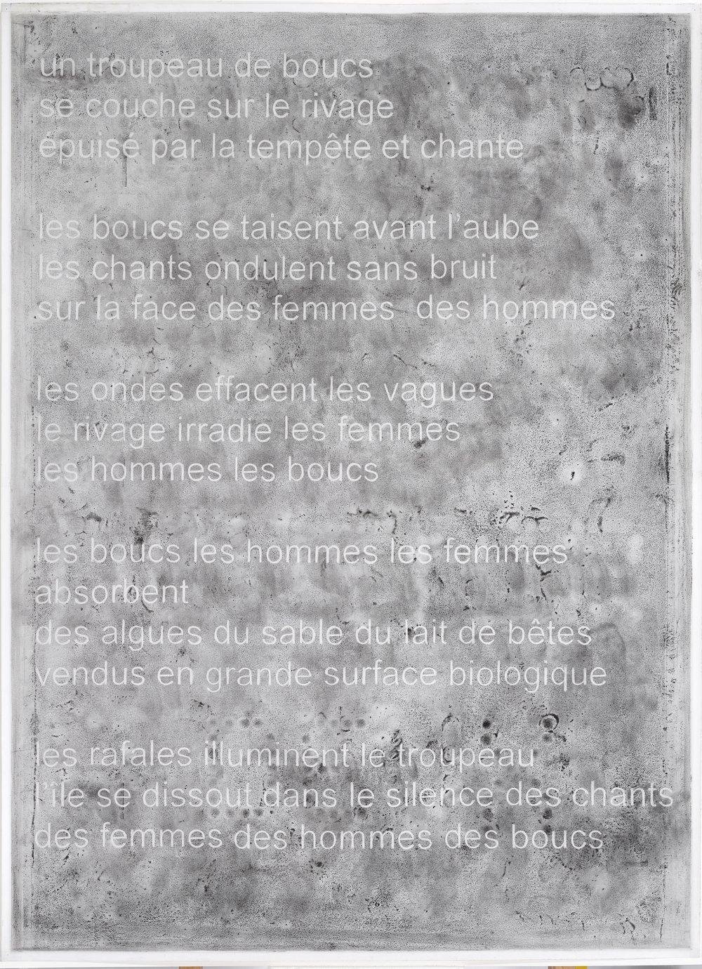 """Alain Huck, """"Le Chant des Boucs"""", fusain sur papier, 110 x 150 cm, 2016"""