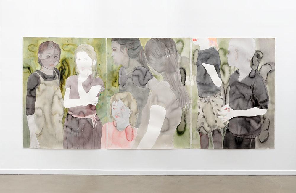 """Françoise Pétrovitch, """"Secret"""", lavis d'encre sur papier (triptyque), 360 x 160 cm, 2014"""