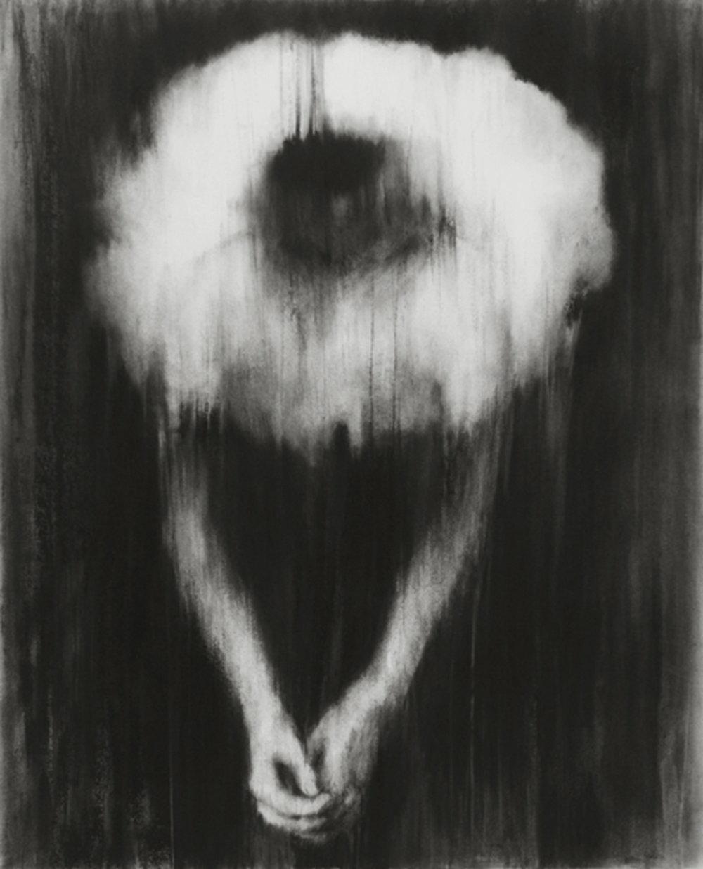 """Guy Oberson, """"Parole coagulée"""", pierre noire sur papier, 108 x 88 cm, 2015"""