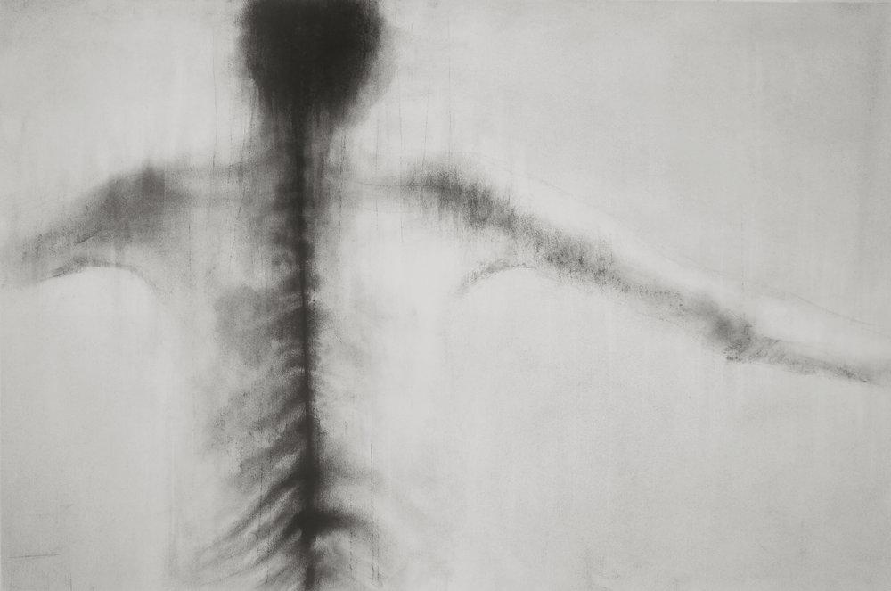 """Guy Oberson, """"Peau"""", pierre noire sur papier, 60 x 90 cm, 2017"""