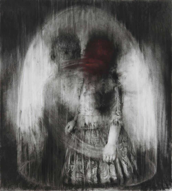 """Guy Oberson, """"Electre et Oreste"""", pierre noire et craie sur papier, 104 x 94 cm, 2016"""