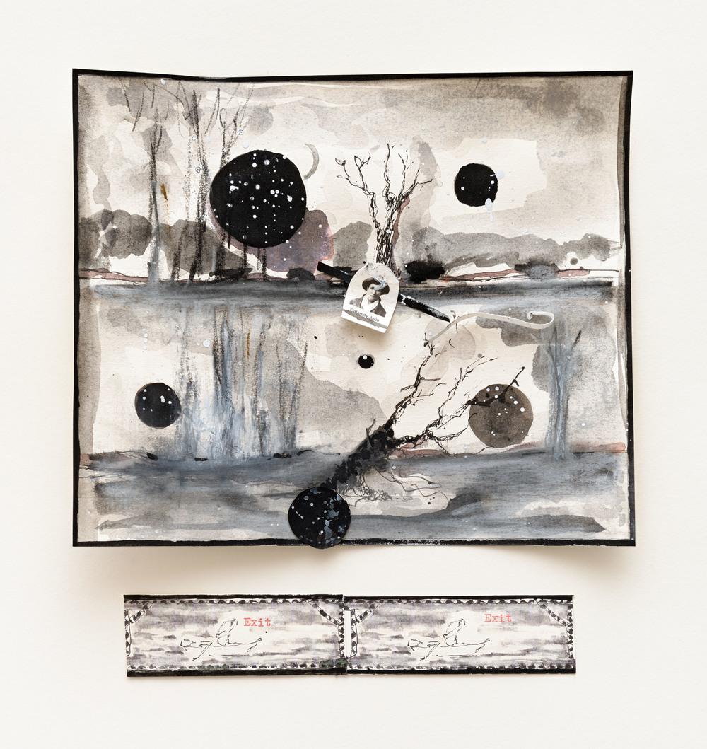 """Visuel:Valérie Favre, """"Exit-Exit"""", encre de chine, gouache, aquarelle, pastel sec, machine à écrire, 22,5 x 22 cm, 2015/2016"""