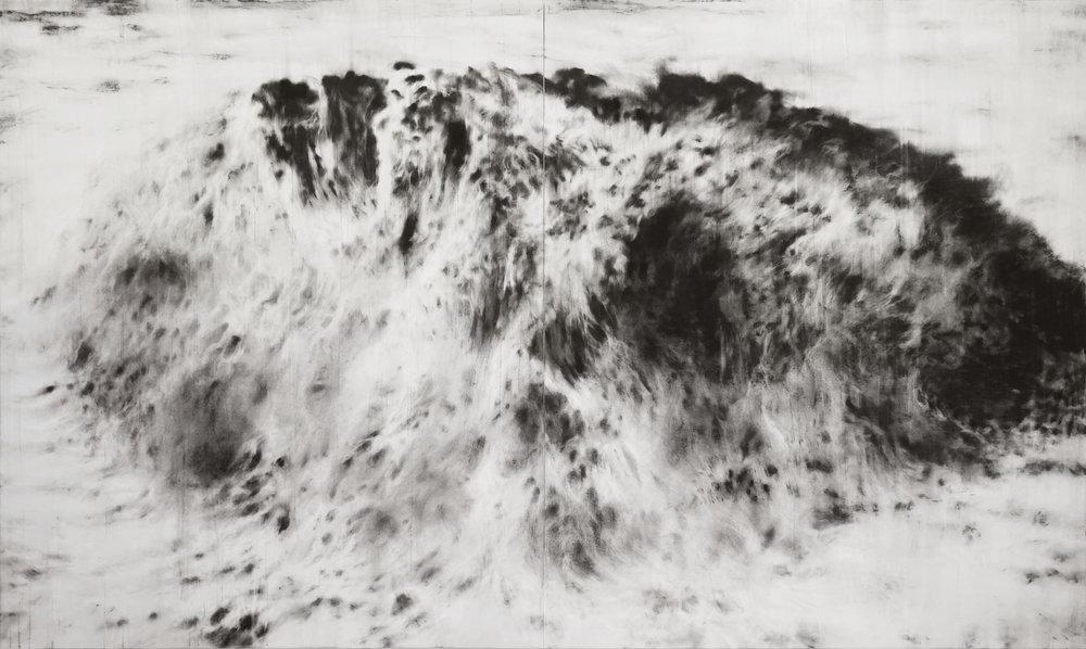 """Guy Oberson,""""Dashed Hopes"""", pierre noire sur papier, 165 x 276 cm diptyque, 2016"""