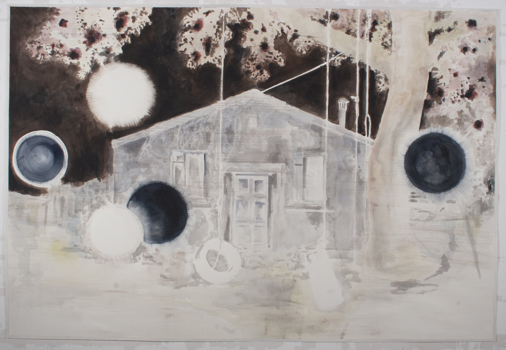 "Uwe Wittwer, ""House Negative"", aquarelle, 221 x 150 cm, 2012"