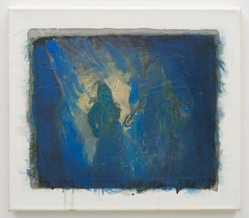 """David Moses, """"Ohne Titel (LW.GM.35.40.0008)"""", d'après """"Le Cabinet du docteur Caligari"""", acrylique et gravure sur toile, 2016."""
