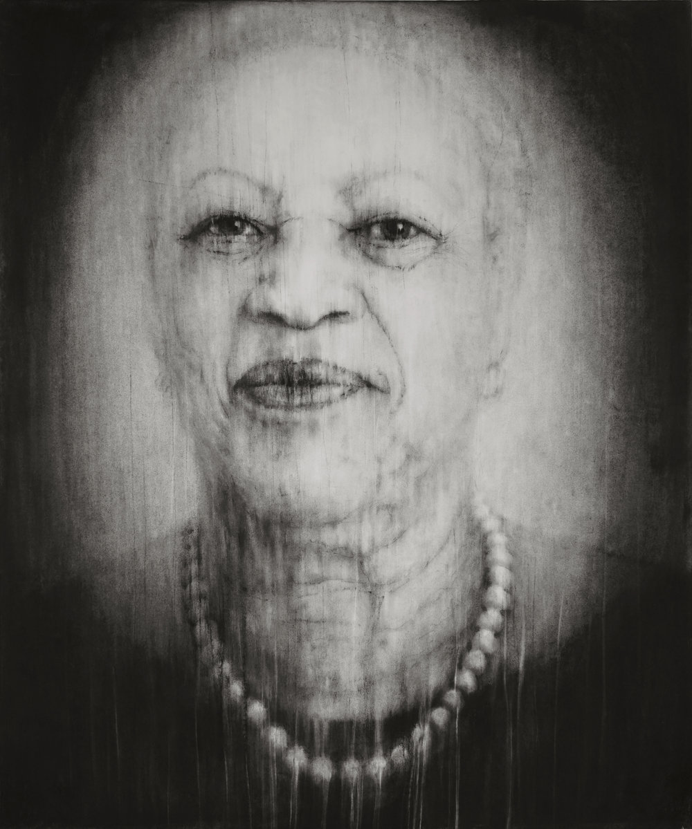 """© Guy Oberson, """"Saving Daylight (Toni Morrison)"""", pierre noire sur papier, 165x138 cm, 2017. Courtesy Galerie C"""