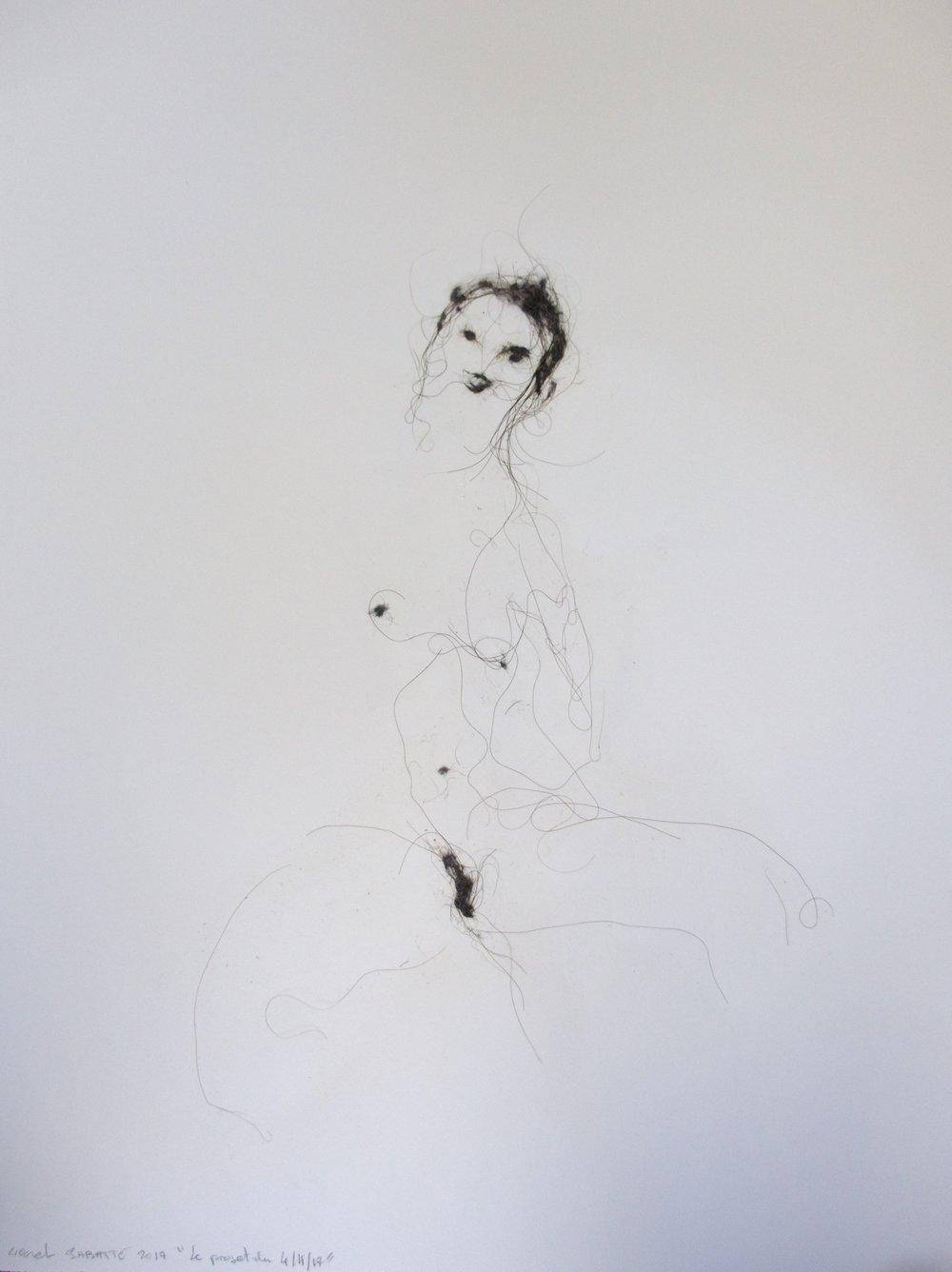 Lionel Sabatté,«Le projet du 04/11/17», poussière sur papier Arches,61×46 cm, 2017. Courtesy Galerie C
