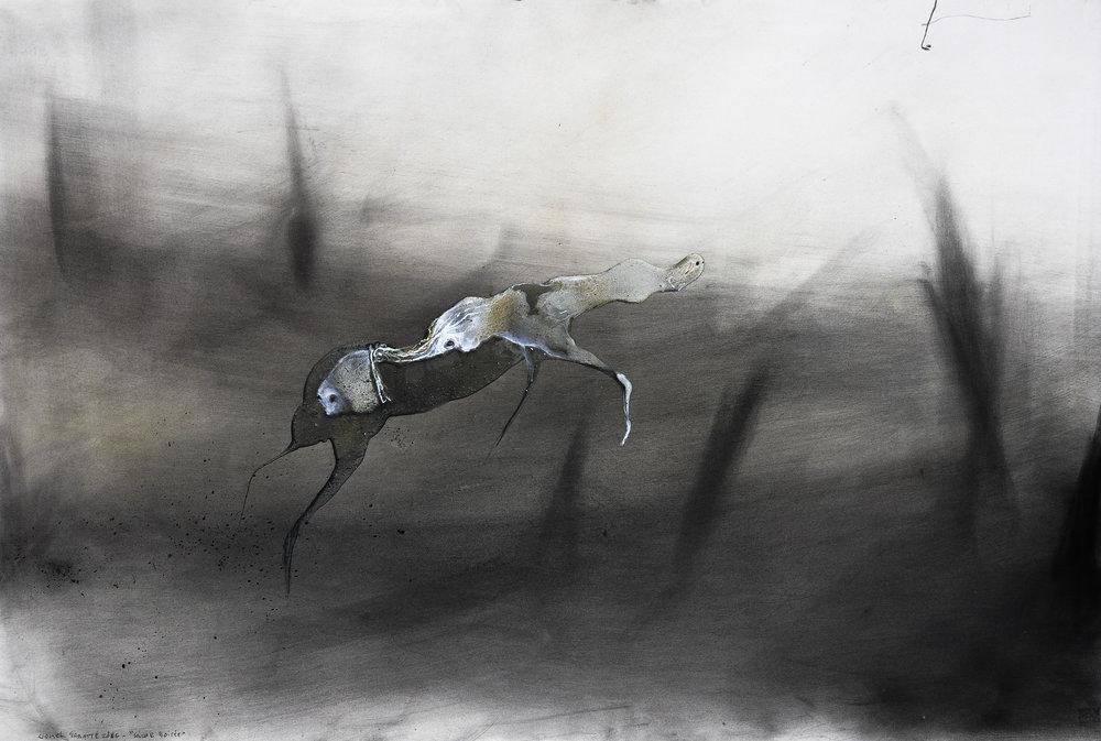 © Lionel Sabatté, Caresse boisée , charbon, médium acrylique et curcuma sur papier, 80x120 cm, 2016.Courtesy Galerie C