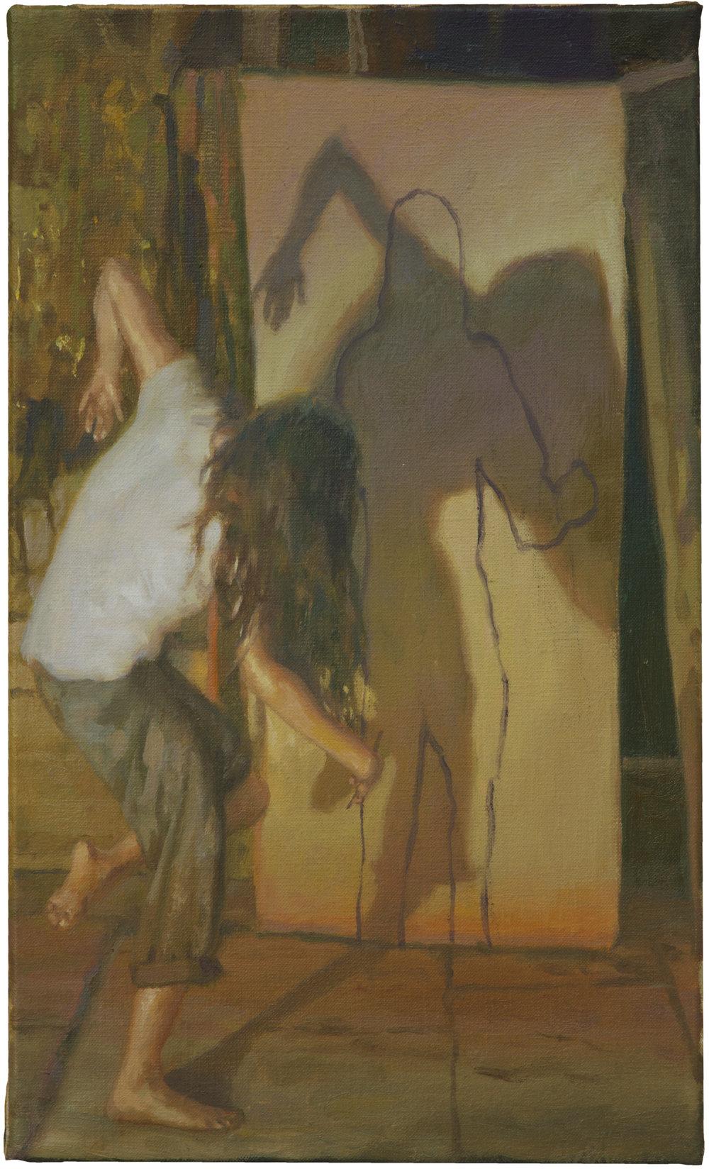 "Simon Pasieka,""Schattenbild 2"",huile surtoile,24x41 cm, 2017"