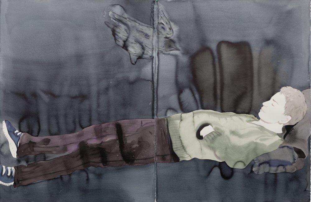 Françoise Pétrovitch, de la série %22étendue%22, lavis d'encre sur papier, 240x120 cm, 2017. Courtesy Galerie C.jpg