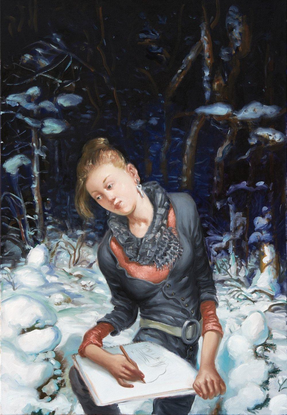 """Stéphane Zaech, """"Winterreise"""", 90x130 cm,2015-2016."""