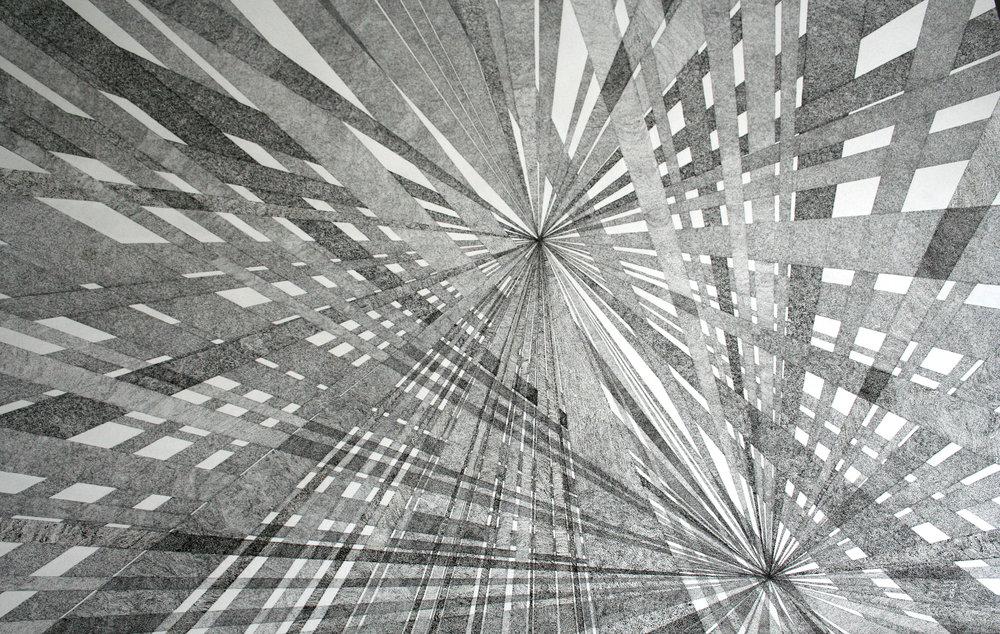 """Nicolas Aiello, """"Melancholia"""", encre de Chine sur papier, 110x75 cm, 2015."""