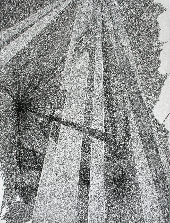 """Nicolas Aiello, """"Sans titre"""", encre de Chine sur papier, 24x32 cm, 2014."""