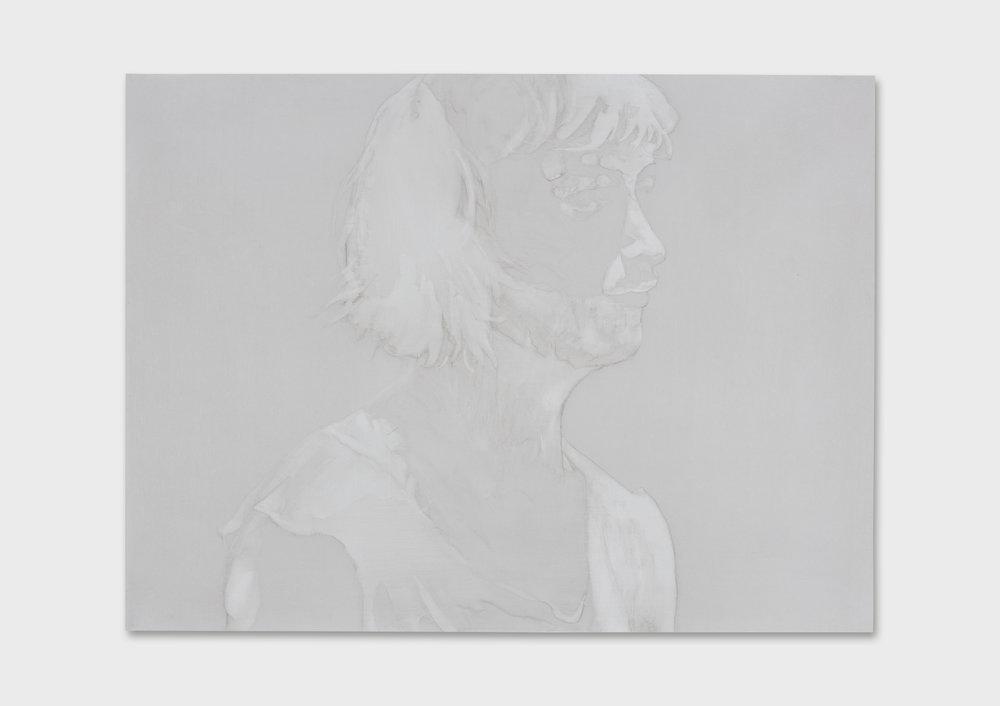 """Michael Rampa, """"Swipe 8"""", lavis sur papier préparé, 2017."""