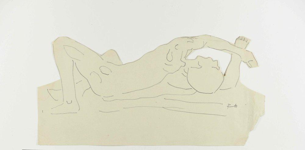 """Ferdinand Hodler, """"Esquisse pour L'Amour"""", vers 1907-1908, crayon sur papier découpé, 17 x 34,9 cm, collection privée © Courtesy Archives Jura Brüschweiler, Genève."""