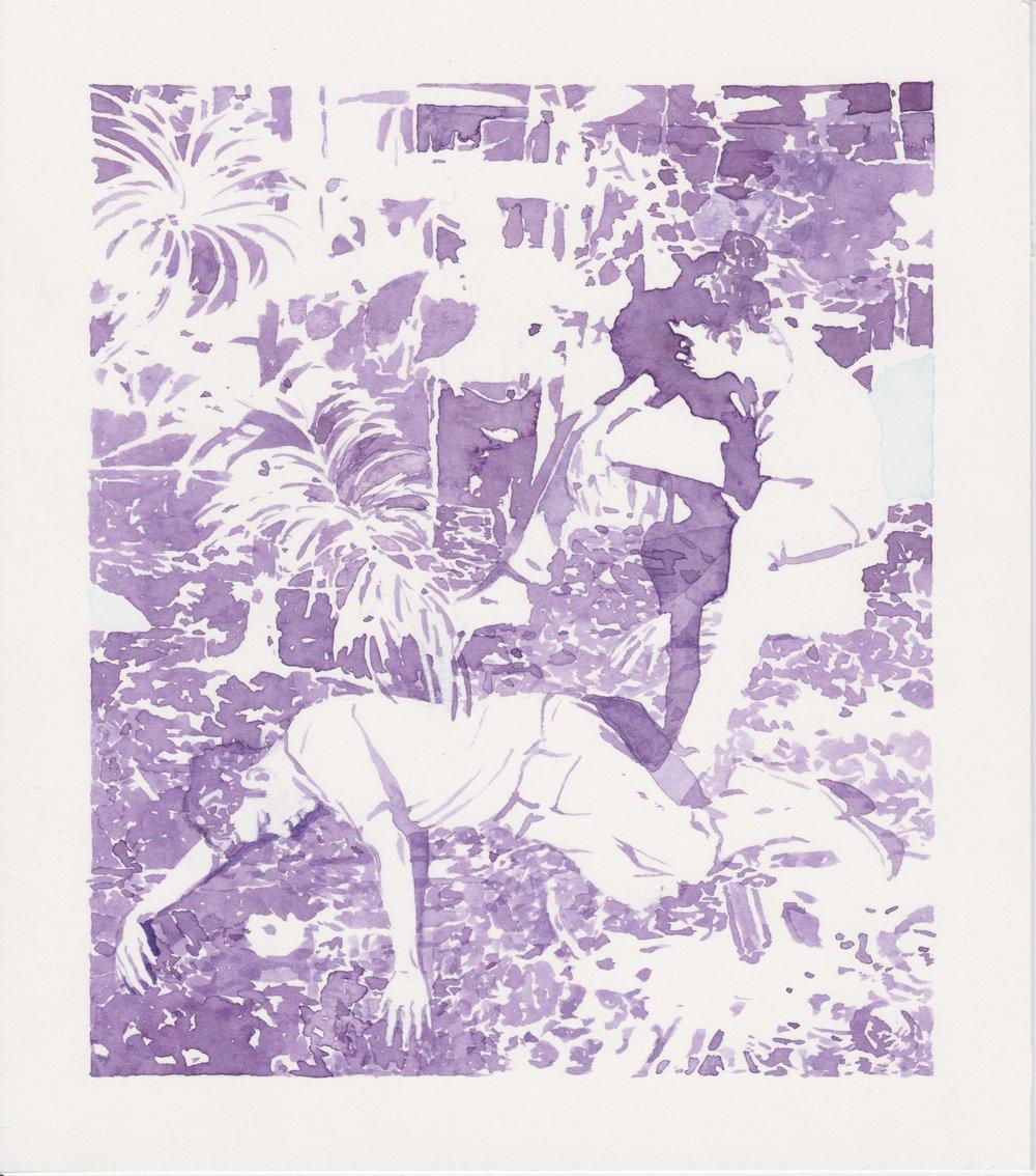 """Michael Rampa, """"Ruin"""", aquarelle sur papier, 24.4x21.7cm, 2018"""
