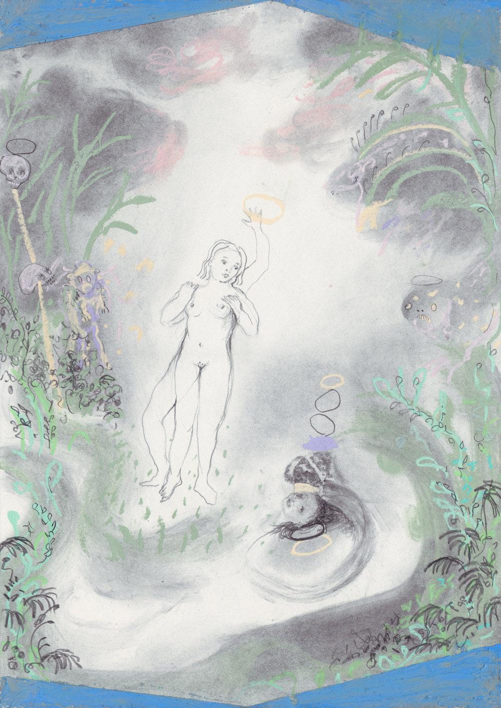 """Emeli Theander, """"The third Me"""", 2018, graphite, huile et pastel gras sur papier, 29,7x42 cm, 2018."""