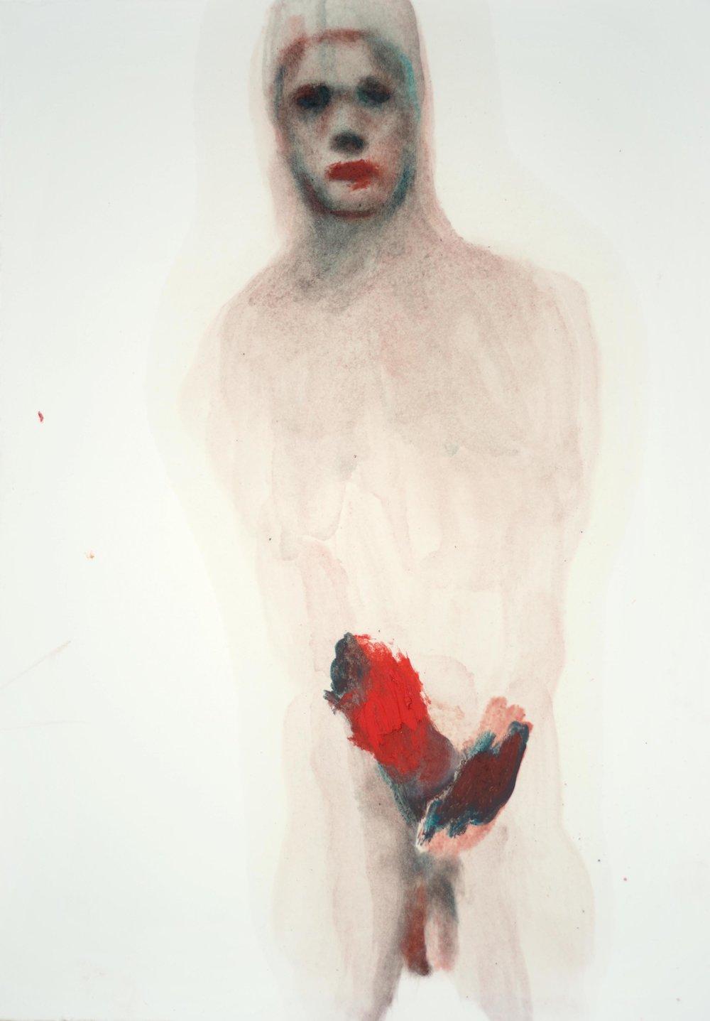 Sarah Jérôme, huile et crayon sur papier, 27x38 cm, 2018.