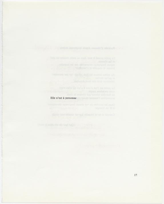 """Sophie Jodoin, """"Elle n'est à personne"""", page de livre ponçée, 28 x 21,5 cm, 2018"""
