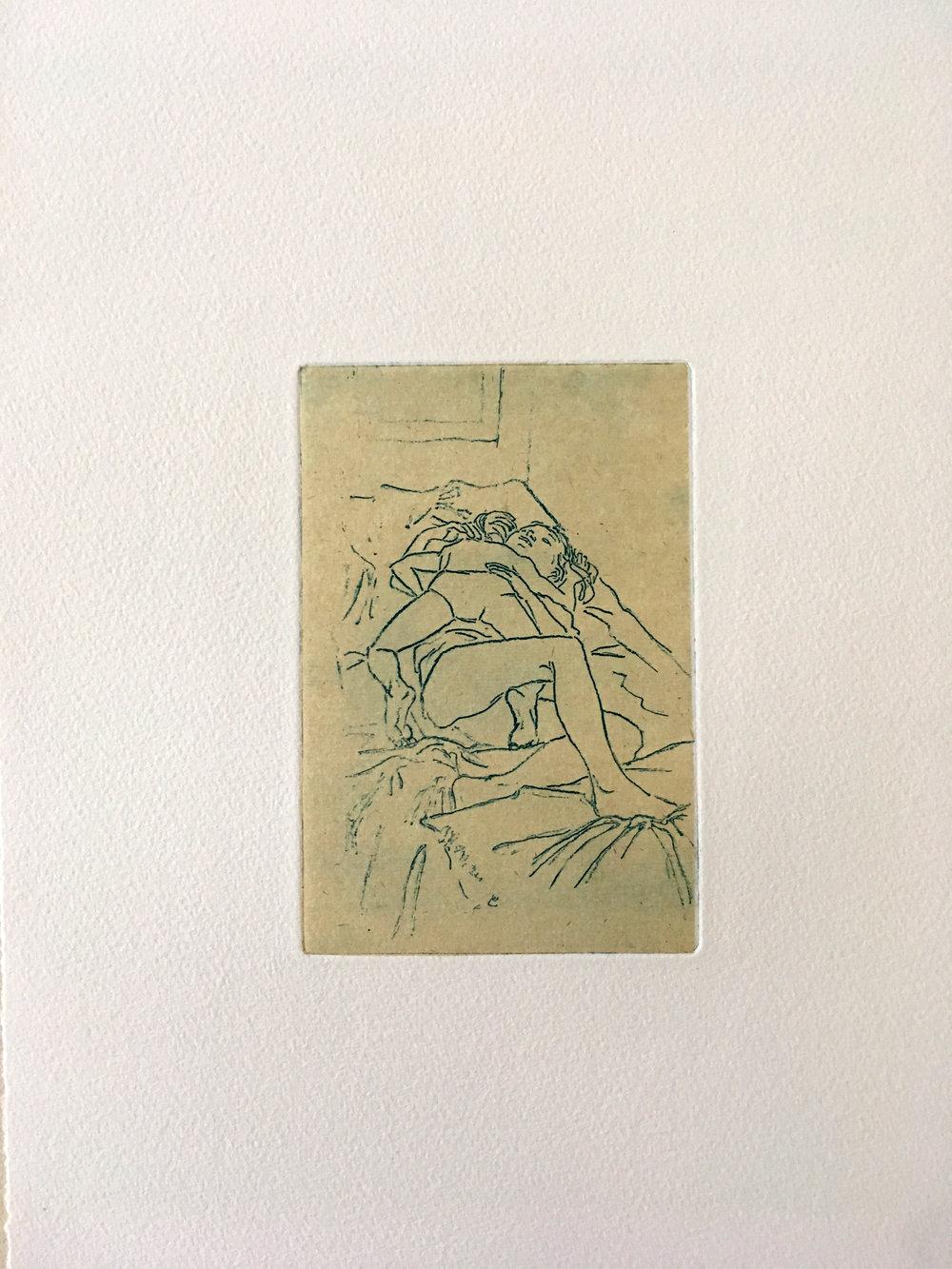 """Line Marquis, de la série """"De chaud ou de froid?"""", aquatinte sur papier Chine encollé, 25x33cm, 2018."""