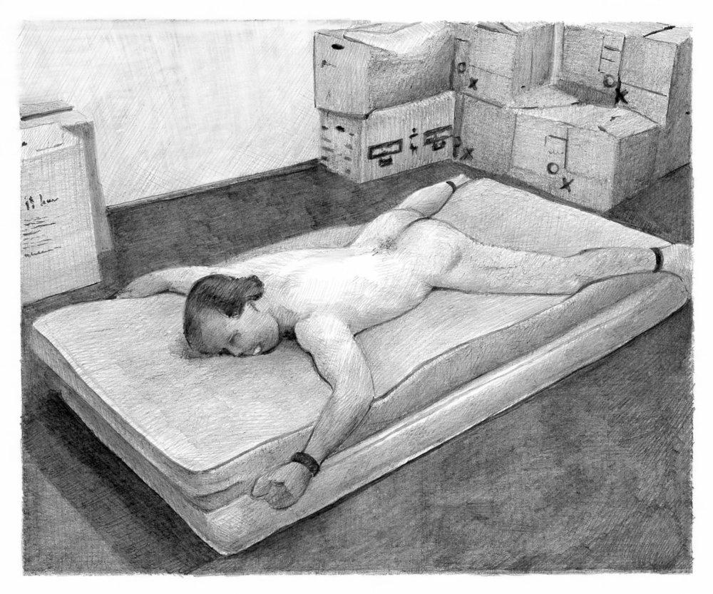 """Thomas Lévy-Lasne, """"Webcam N°27"""", crayon sur papier, 15x12,5cm, 2012."""