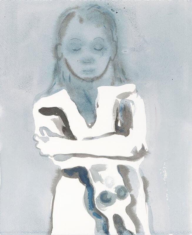 © Françoise Pétrovitch, lavis d'encre sur papier, 38,5 x 33 cm, 2018.