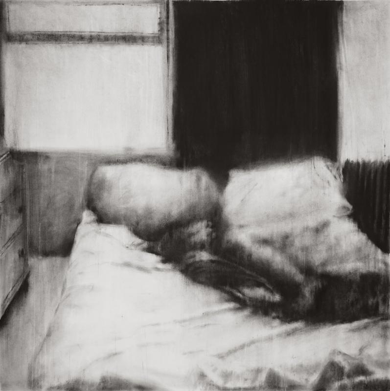 """Guy Oberson, """"Love Identity 3"""", pierre noire sur papier, 150x150 cm, 2017."""